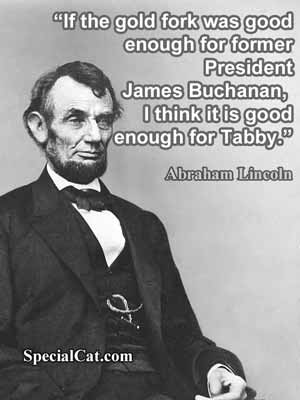 Photo of Abraham Lincoln with a quote about his cat Tabby